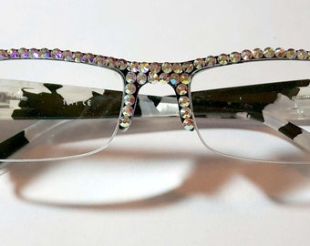 3cf73119f05 Black and White Mother of Pearl made with Swarovski CLEAR AB Crystals  Reading Glasses Spring Hinge