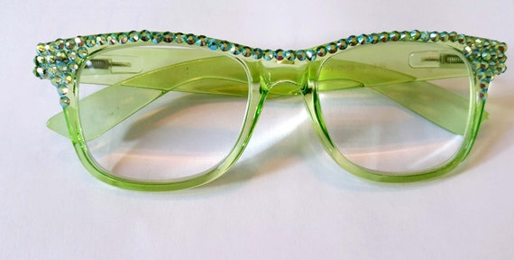 1211fa2d009 Lime AB Reading Glasses Readers made with Swarovski Crystals Spring HInges