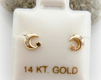a4e4a6f51 14K Solid Gold Baby Little Girls Moon and Star Screwback Earrings. Baby  Birthday Gift. Star Shape Gold Earrings