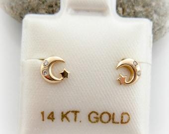 5fdd48b69 14K Solid Gold Baby Little Girls Moon and Star Screwback Earrings. Baby  Birthday Gift. Star Shape Gold Earrings