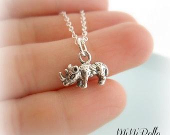 Rhinoceros Necklace. Sterling Silver Rhinoceros Necklace.