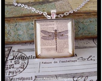 illustration jewelry,french inspired,crown Dragonfly pendant altered art pendant,gift boxed Mother/'s Day gifts graduation gifts,wings
