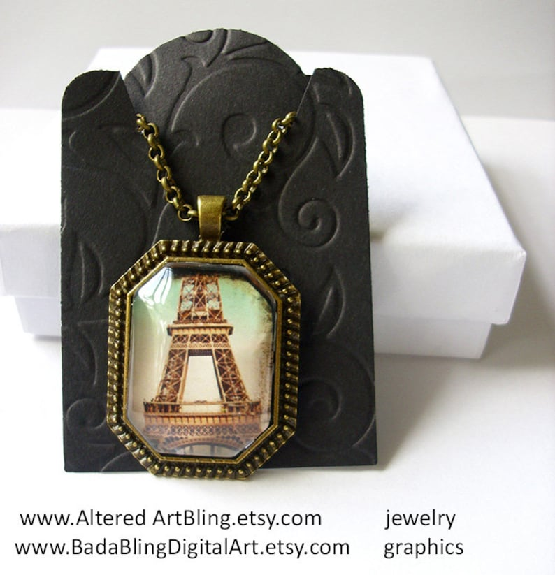 #1 in the series of 6 gift box and gift tag octagonal pendant Ready To Ship Paris,Eiffel Tower,illustration jewelry Sprintime In Paris