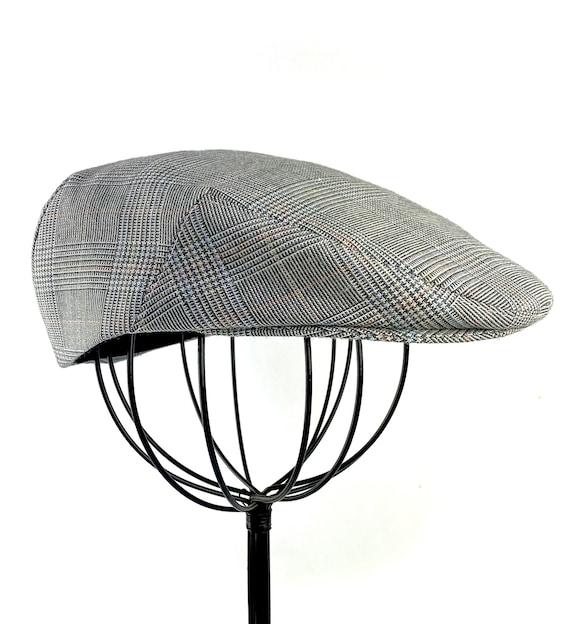 Glen Plaid Wool Flat Jeff Cap, Ivy, Driving Cap - Custom Handmade Golf Hat in Grey Blue Peach Wool Blend for Men, Boys, Baby
