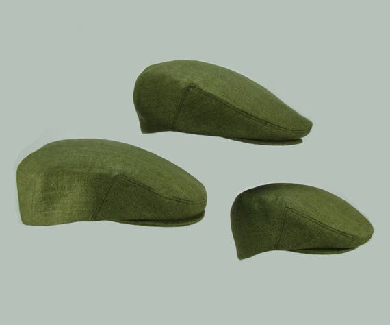 Matching  Moss Green Raw Silk Matka Hats - Summer Linen-Cotton Original Print Flat Jeff Cap, Baby, Toddler, Boy, Men