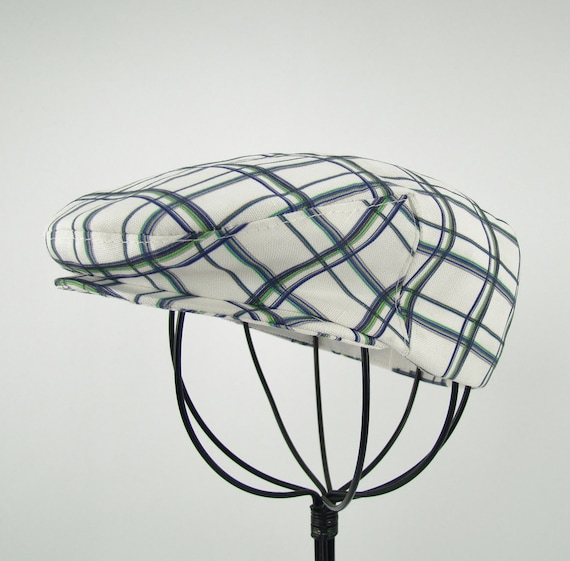 Infant's Blue Green and White Plaid Linen-Cotton Jeff Cap for Boys, Baby, and Toddler Newsboy Ivy