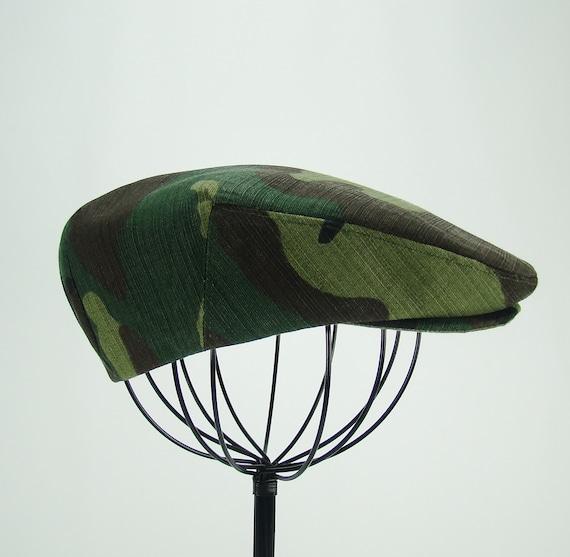 Green Camouflage Flat Jeff Cap, Ivy Cap, Driving Cap