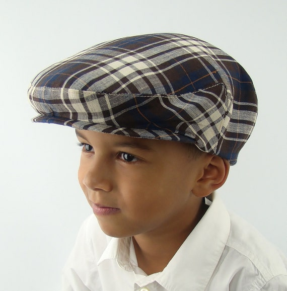 Brown Plaid Linen Flat Jeff Cap for Men, Women, Boys, Baby, and Toddler Newsboy Ivy Sixpence