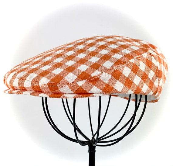 Orange and White Cotton Gingham Check Jeff Cap, Ivy Cap, Driving Cap for Men, Women, and Children