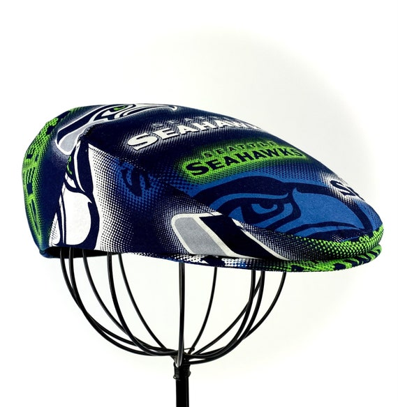 Seattle Seahawk's Logo Print Cotton Jeff Cap, Flat Ivy Cap, Driving Cap - Custom made