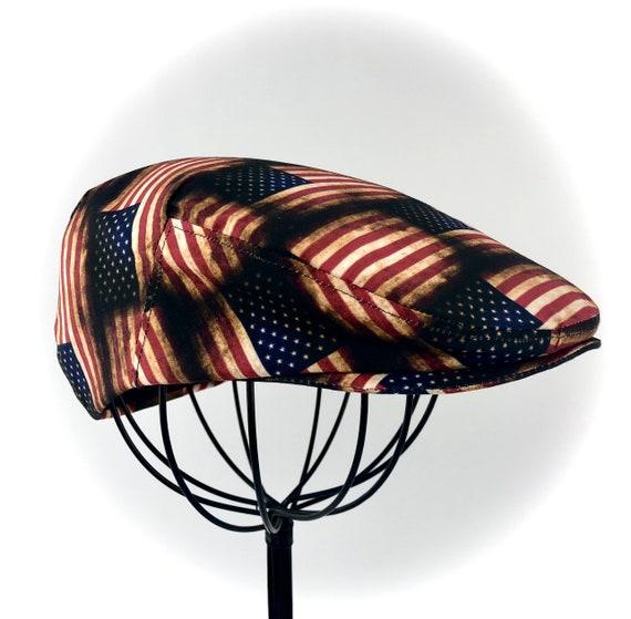 Patriotic Vintage Distressed American Flag Print Cotton Jeff Cap, Flat Ivy Cap, Driving Cap - Men, Women, Children