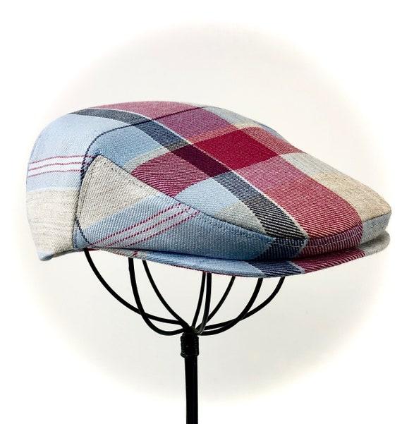 Plaid Wool Flat Jeff Cap, Ivy, Driving Cap - Custom Handmade Golf Hat in Blue White Grey Red Wool Blend for Men, Boys, Baby