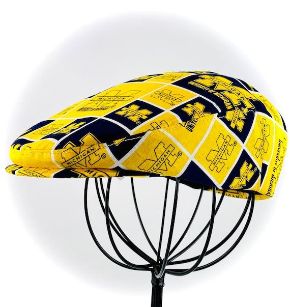 University of Michigan Logo Print Cotton Jeff Cap, Flat Ivy Cap, Driving Cap - Custom made