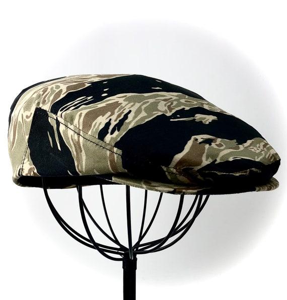 Vietnam Tiger Stripe Cotton Camouflage Flat Jeff Cap, Ivy Cap, Driving Cap