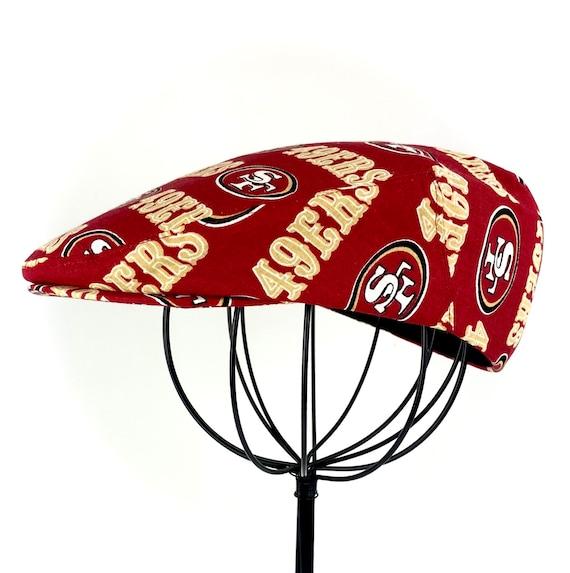 San Fransisco 49ers NFL Logo Print Cotton Jeff Cap, Flat Ivy Cap, Driving Cap - Custom made
