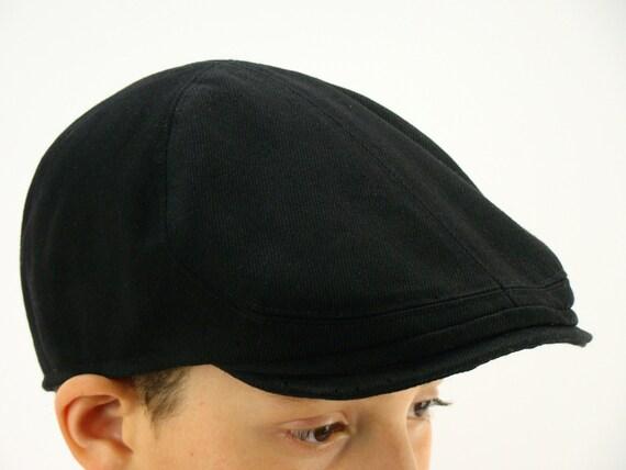 RTS 6-Panel Handmade Flat Cap Driving Cap for Men in Black Cotton Twill - Custom Hats