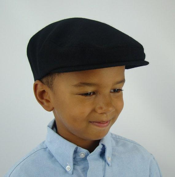 Boy's Black Wool Flat Jeff Cap, Ivy, Children's Driving Cap Custom Handmade