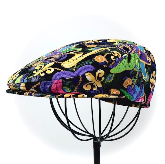 Novelty Mardi Gras Beads Inspired Print  Cotton Jeff Cap, Flat Ivy Cap, Driving Cap -