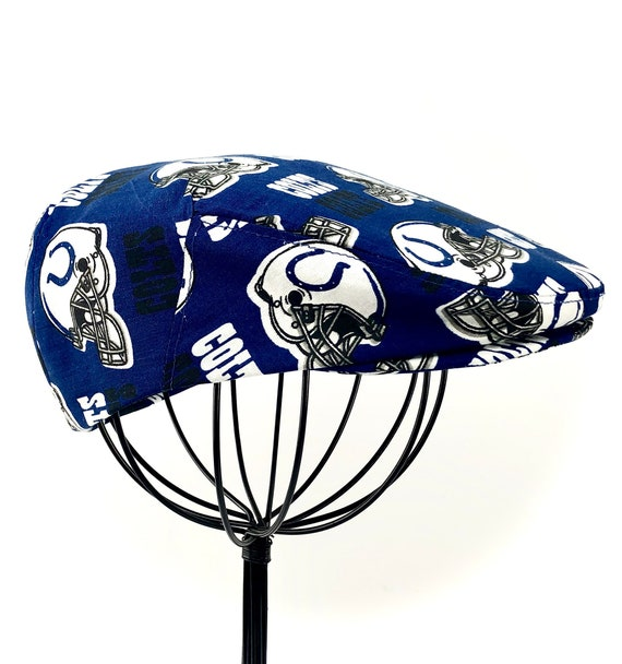 Indianapolis Colts NFL Logo Print Cotton Jeff Cap, Flat Ivy Cap, Driving Cap - Custom made