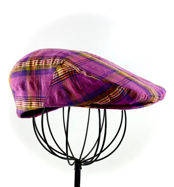 Purple Plaid Cotton Seersucker Flat Jeff Cap for  Men, Women,Boys, Baby, and Toddler Newsboy Ivy Sixpence
