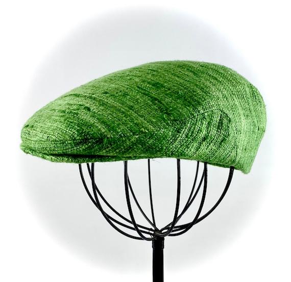 Custom Jeff Cap Handmade Flat Cap Driving Cap for Men in Textured Green Silk Matka - Raw Silk