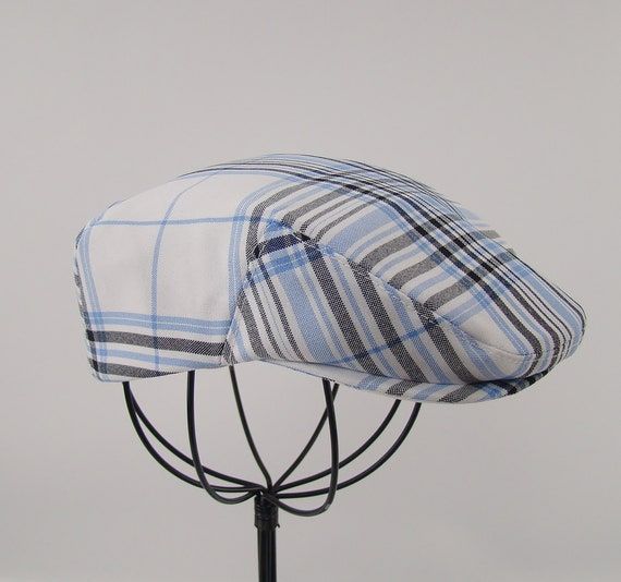Children's Light Blue Plaid Poly Flat Jeff Cap for Boys, Baby, and Toddler Newsboy Ivy Sixpence
