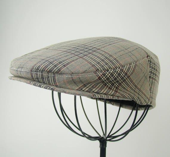 Plaid Wool Flat Jeff Cap, Ivy, Driving Cap - Custom Handmade Golf Hat in Black White Grey Red Wool Blend for Men, Boys, Baby