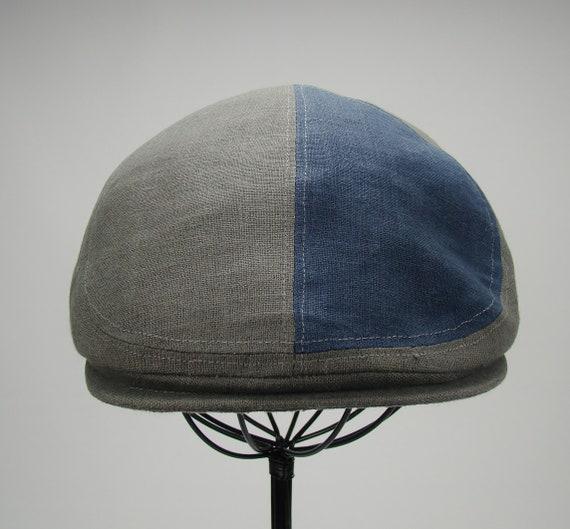 6-Panel Handmade Linen Flat Cap Driving Cap for Men in Elephant Grey With Navy Contrast Panel - Custom Hats