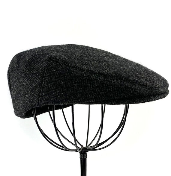 Black and CharcoalGrey Herrinbone Wool Men's Sixpence Hat -  Flat Jeff Cap, Ivy Cap, Driving Cap for Men, Women, and Children