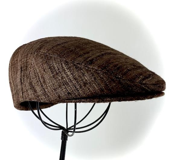 Custom Jeff Cap Handmade Flat Cap Driving Cap for Men in Brown Silk Matka - Raw Silk