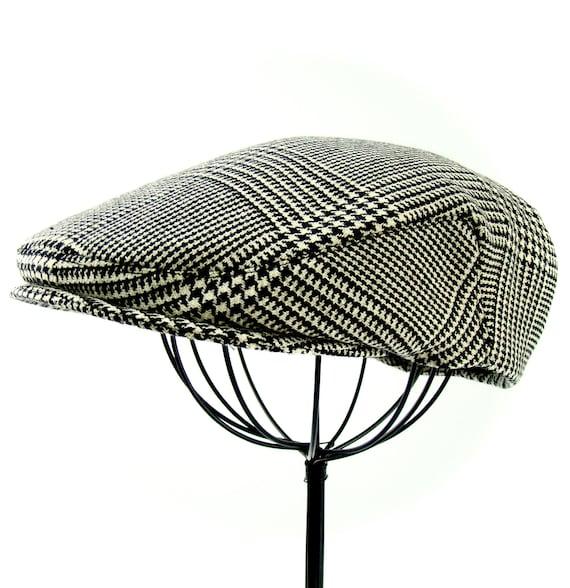 Men's Black & Ivory Glen Plaid Wool Hat - Golf Cap, Jeff Cap, Ivy Cap, Driving Cap for Boys, Toddler, and Baby  - Handmade