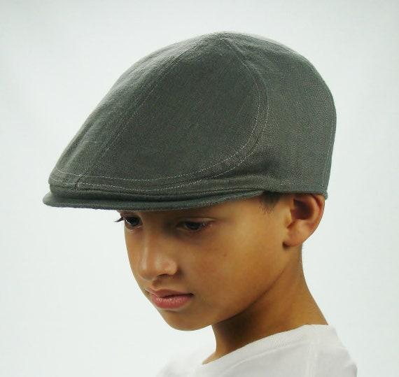 6-Panel Handmade Linen Flat Cap Driving Cap for Men in Elephant Grey - Custom Hats