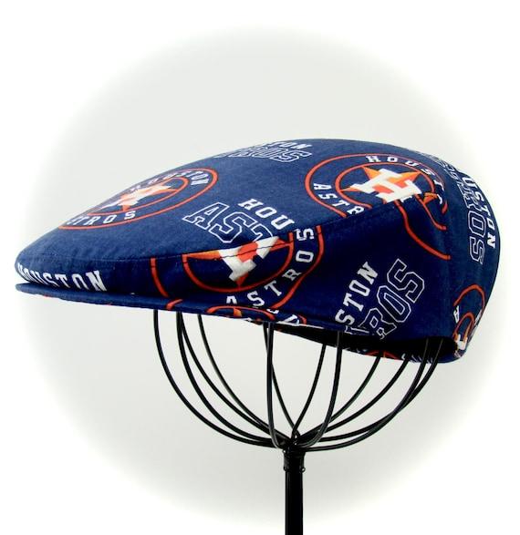 Houston Astros Logo Print Cotton Jeff Cap, Flat Ivy Cap, Driving Cap - Custom made