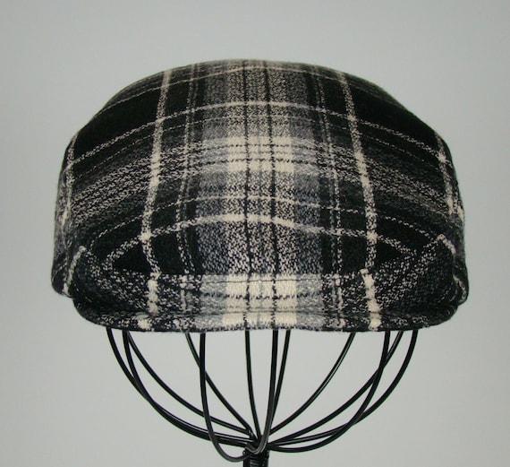 30573697c4afa Men s Wool Hat Golf Cap in Black Grey   Ivory Plaid Flat