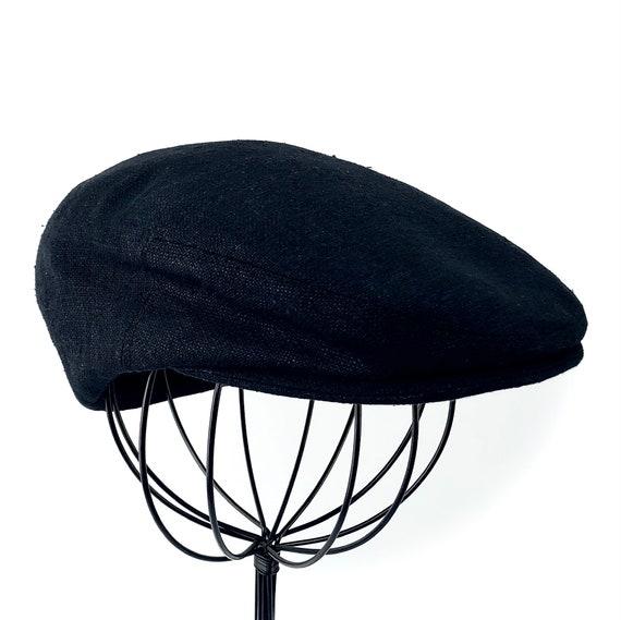 Custom Jeff Cap Handmade Flat Cap Driving Cap for Men in Black Silk Matka - Raw Silk