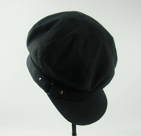 OVERSIZED NEWSBOY 8-Panel Handmade Cap Driving Cap for Men or Women in Black Medium Weight Waxed Canvas