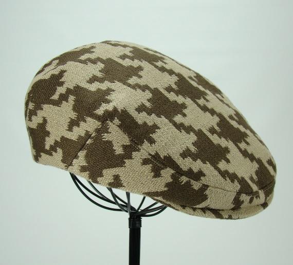 Custom Handmade Flat Jeff Cap -- Driving Cap -- Ivy Cap -- Houndstooth for Men, Women & Children