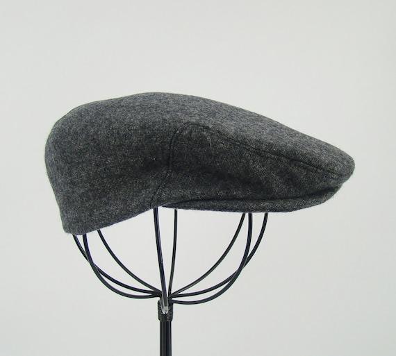 Baby Boy's Gray Wool Flat Jeff Cap, Ivy , Children's Driving Cap Custom Handmade Infant Grey Golf Hat