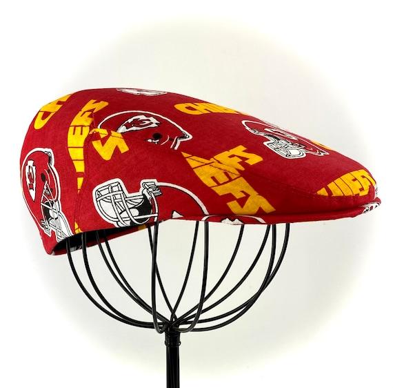 Kansas City Chiefs Logo Print Cotton Jeff Cap, Flat Ivy Cap, Driving Cap - Custom made