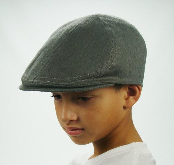 Boy's 6 Panel  Linen Flat Cap Driving Cap in Elephant Grey - also in Brown, Tan, Copper, Black