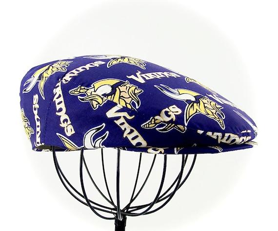 NFL Minnesota Vikings Logo Print  Cotton Jeff Cap, Flat Ivy Cap, Driving Cap - Team Pride Cap