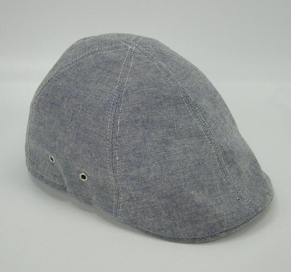 Blue Chambray 6-Panel Handmade Duckbill Ivy Flat Cap Driving Cap for Men - Custom Hats