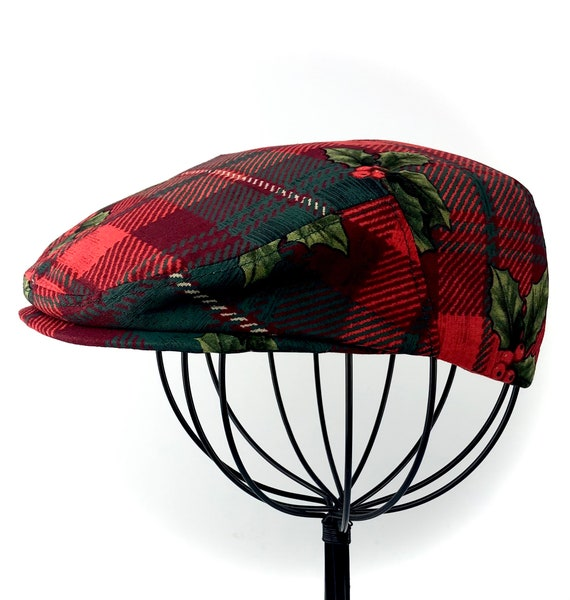 Holiday Christmas Holly Plaid Print Cotton Jeff Cap, Ivy Cap, Driving Cap for Men, Women, and Children - Handmade CustomHats