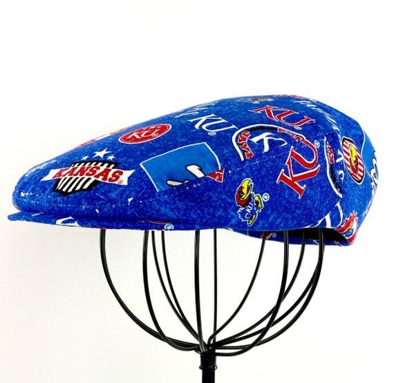 Kansas Jayhawks - Kansas University Logo Print Cotton Jeff Cap, Flat Ivy Cap, Driving Cap - Custom made