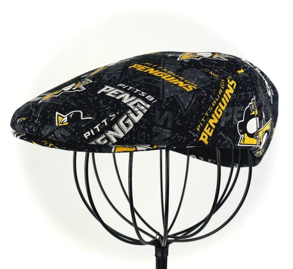 NHL Pittsburgh Penguins Logo Print Cotton Jeff Cap, Flat Ivy Cap, Driving Cap - Custom made