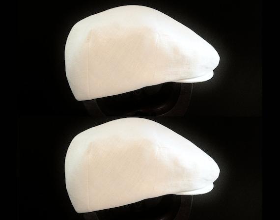Twin Baby Boy's White Linen Flat Jeff Cap, Ivy , Driving Cap for Baptism or Christening - Custom Handmade Infant Hat