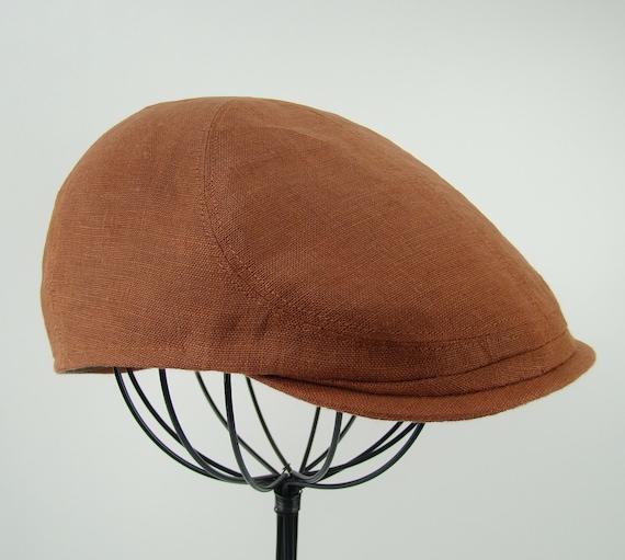 Custom 6 Panel Handmade Copper Linen Flat Cap Driving Cap for Men