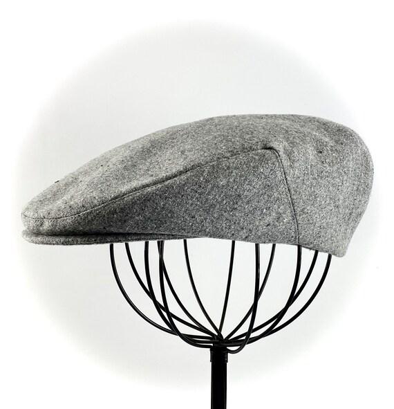 Grey Tweed-look Cotton Men's Sixpence Hat -  Flat Jeff Cap, Ivy Cap, Driving Cap for Men, Women, and Children