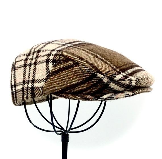 Men's Wool Hat - Golf Cap in Brown & Ivory Plaid Flat Jeff Cap, Ivy Cap, Driving Cap for Boys, Toddler, and Baby  - Handmade