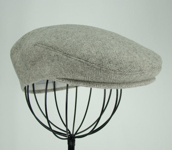 Men's Hat - Grey Wool Tweed Herringbone Golf Cap, Flat Jeff Cap, Ivy Cap, Driving Cap for Boys, Toddler, & Baby Too